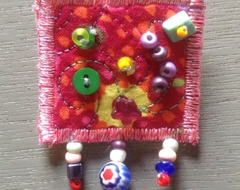 Quilted pin, quilted brooch, Quilt Art, fabric art
