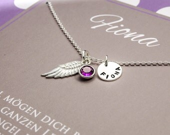 Silver necklace engraved birthstone, name jewelry