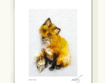 Fox art print, baby fox art.