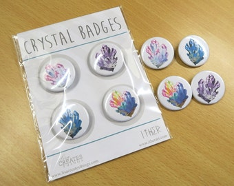 Crystal - 35mm Badge / Buttons - Individual or in a pack