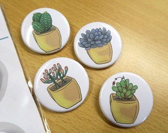 Succulent - 35mm Badge / Buttons - Individual