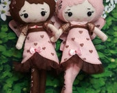 Cupid Fairies Merino-Wool Felt Doll -poseable Fairy/Faeries choice in chocolate or powder-pink