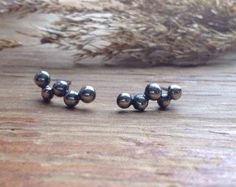 Silver pebble post earrings
