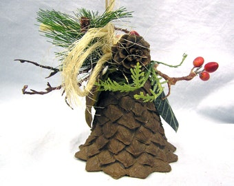"Rare Atq or Vtg 6"" Celluloid Pinecone Bell with Fabric Leafs Berries Decoration Christmas"