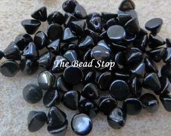 Button Bead ® Jet Black, 50 pcs, hanging cellophane bag