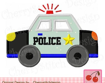 Police Car Transportation Mchine embroidery Applique - approximate 4x4 5x5 6x6 inch