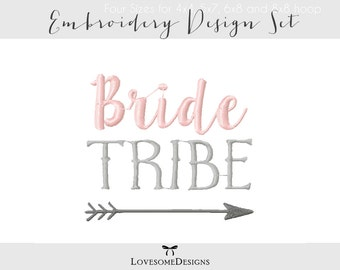 Bride Tribe Five Sizes Embroidery Design, Modern Calligraphy, Embroidery Font, Tribal Wedding, Handwritten Font, Wedding Embroidery