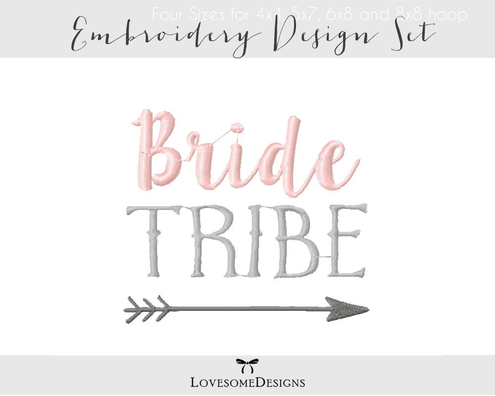 bride tribe five sizes embroidery design  modern calligraphy  embroidery font  tribal wedding