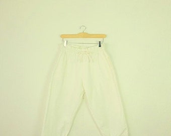 SUMMER SALE Vintage  White Cotton Cropped Pants /Easy Pants  from 80's*