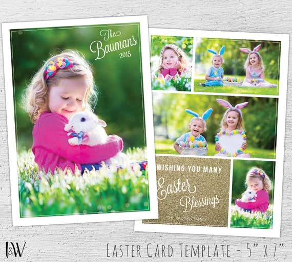 Easter Card Template, Photoshop Template, Easter Card, Photographer ...