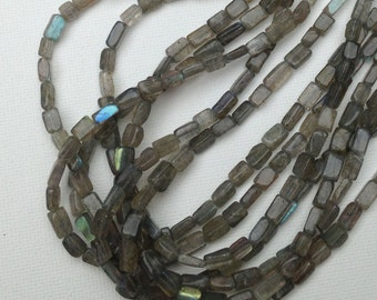 Labradorite silvery grey tiles multi-strand necklace