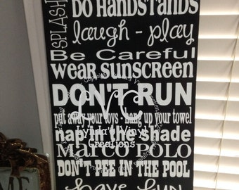 Personalized Pool Rules Sign