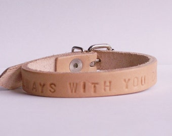 Darken leather bracelet with name, compose in 1 cm wide