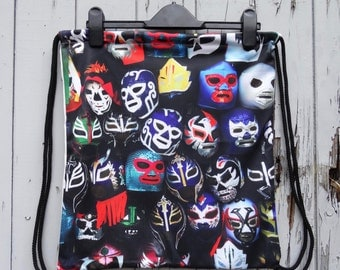 Vintage Mexican Lucha Libre Wrestling Mask Backpack - Bag Gym Handbag Vintage Alternative Underground