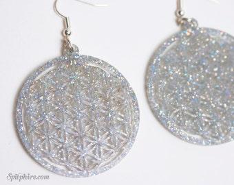 Flower of Life Earrings - Holographic Glitter Earrings - Laser Cut FOL