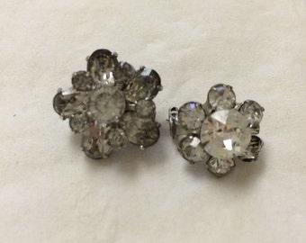 Two small vintage rhinestone pins