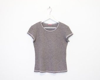 on sale - heather grey waffle t-shirt / sporty cap sleeve top / size M