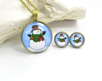 Set jewelry Necklace and Earring Snowman