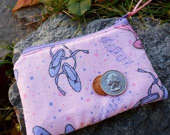 Ballerina Coin Purse, Girls Zipper Wallet, Pink Change Purse