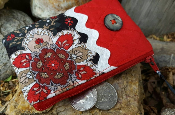 Quilted Coin Purse, Red and Black Zipper Pouch, Change Purse