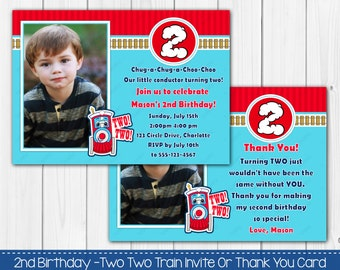 Two Two Train 2nd Birthday Invitation OR Thank you card Digital Printable Photo Card Invite File