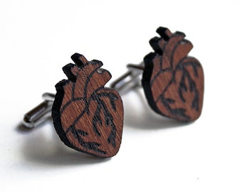 Anatomical heart cuff links, heart cuff links, wood heart cuff links, wood cuff links red, lasercut wood cufflinks, father's day, birthday