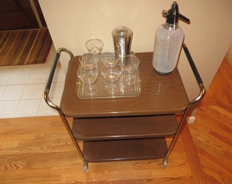 Vintage Mid Century Metal Bar Cart On Wheels