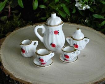 Fairy Garden Tea Cup Set Ladybug fairy accessories for fairy tea party miniature garden party fairy garden accessory dolls and miniatures