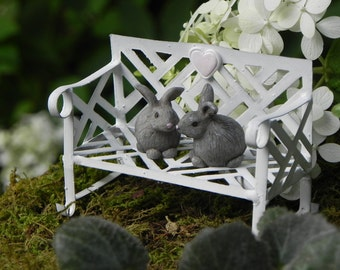 Fairy Garden Furniture Bench white with two miniature bunnies, pale pink heart, miniature garden furniture, fairy accessories, white bench