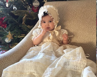 French Maline Lace Christening Gown