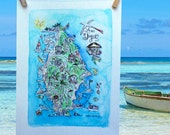 Illustrated Hand Painted Watercolor Map of La Digue, Seychelles