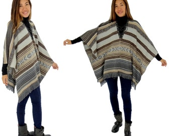 HQ600BR poncho Cap knit Indio look one size beige/Brown/grey