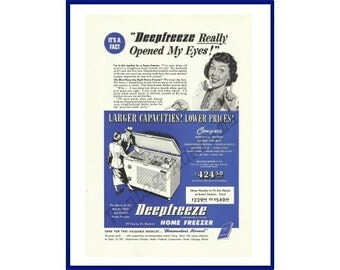 "DEEPFREEZE HOME FREEZER Original 1949 Vintage Blue-Colorized Print Ad - ""Deepfreeze Really Opened My Eyes""; Major Kitchen Appliance"