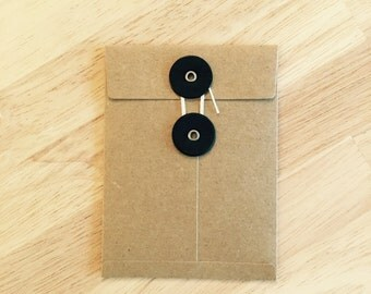 String Tie Envelopes, Extra Small, Brown Paper, Set of 5,  4 x 3 inches Black Button and White String