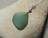 1 Handmade Surf Tumbled Olive Green Sea Glass Pendant on Chain