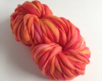 Handspun Thick and Thin Yarn, Merino, 50 yards, Watercolor Leaves