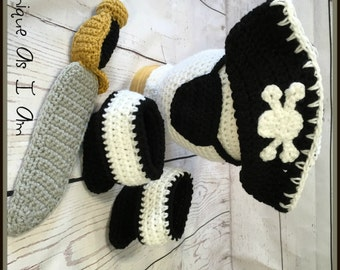 Crochet Baby Pirate Outfit/Photo Prop