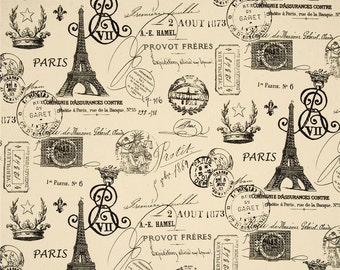 French Stamp Onyx and Natural - One Yard - Premier Prints Fabric