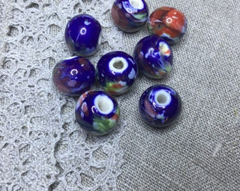 8 Pcs. Gorgeous Porcelain Multicolor Beads