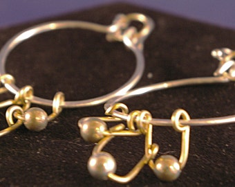 Silver with Brass hoops with Netting, and Beads Earrings