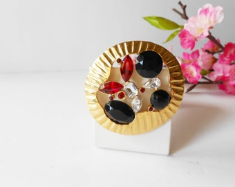 Rhinestone Brooch, Colorful Brooch,  Vintage Brooch, Costume Jewelry, Red Black Clear,  Glamorous Brooch,Jeweled Pin,