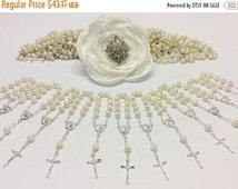 10%off weekend sale 60 pcs Pearl Rosaries, First communion favors Recuerditos Bautizo 60pz/ Mini Pearl Rosary Baptism Favors 60 pcs