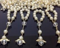 10%off weekend sale 25 pcs Angel Pearl Decade Rosaries, Mini Rosaries, First communion favors Recuerditos Bautizo 25pz/ Mini Pearl Rosary Ba