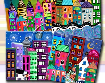FUNKY TOWNS -  Printable Digital Collage Sheet 12 X 4 inch squares for Coasters, Greeting Cards, Gift Tags.  Instant Download #221.