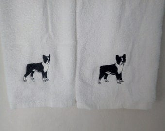 Embroidered Hand Towels Boston Terrier Dog Breed, AKC Dog Breed, Show Dog,  Pet, Lap Dog, Playful Dog, Standing Dog, Stacked Boston Terrier