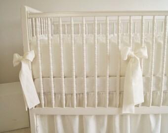 Linen Crib  bedding -  4 side bumper- Nursery bedding