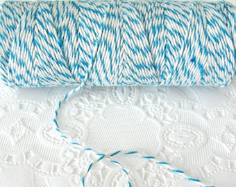 100 Yard Spool Sky Blue and White Baker's Twine | Cotton Twine | Bright Blue Twine | Pretty Packaging