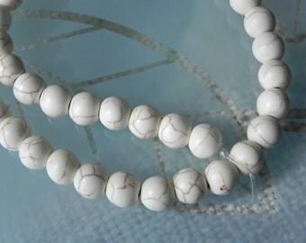 Cream Howlite 8mm Beads