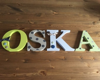 Personalised Wooden Letters/ 4 letter name /Free Standing Wooden/ Nursery Decor/Christening/New Baby