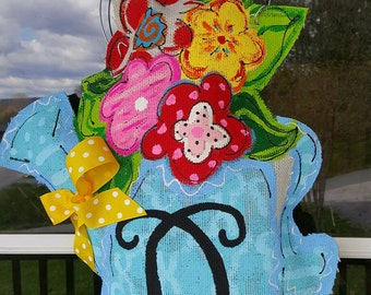 Burlap flower pot door hanger !